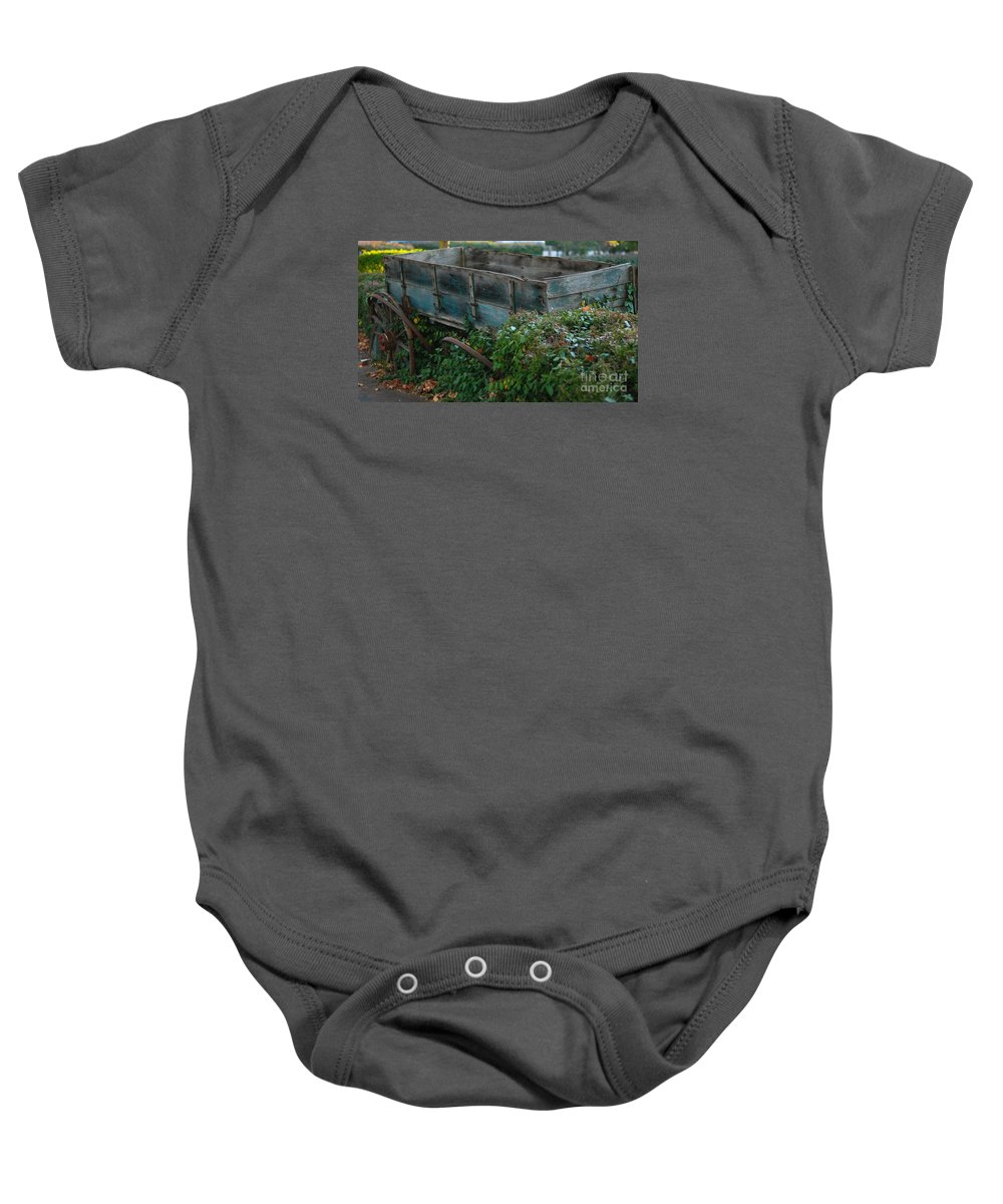 Abandoned Wagon Cart Wheels St Charles Missouri Usa Broken Baby Onesie featuring the photograph Neglect by Richard Gibb