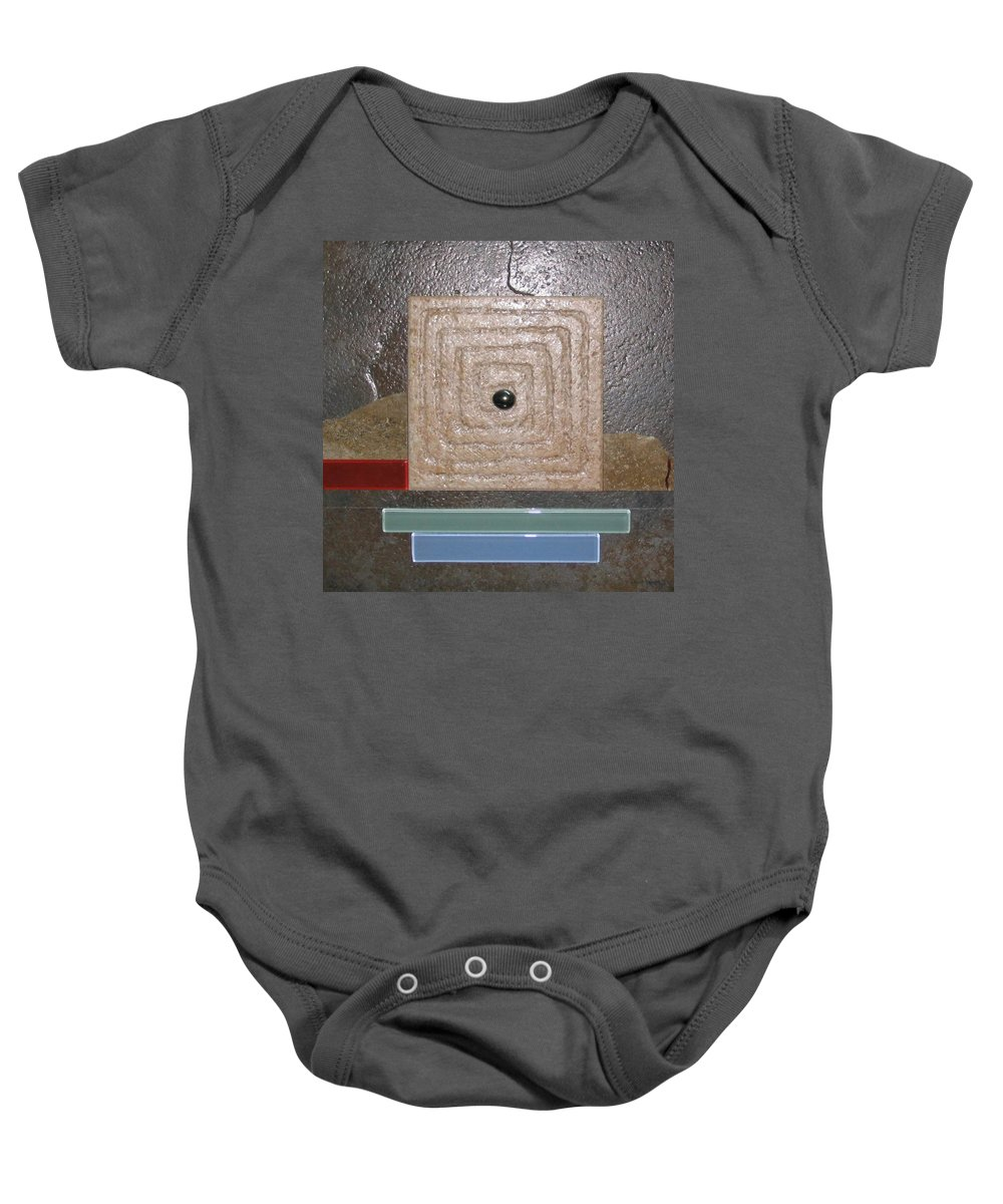Assemblage Baby Onesie featuring the relief New Moon by Elaine Booth-Kallweit