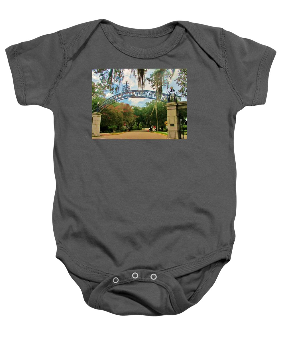 Pizzati Gate Baby Onesie featuring the photograph New Orleans City Park - Pizzati Gate Entrance by Deborah Lacoste