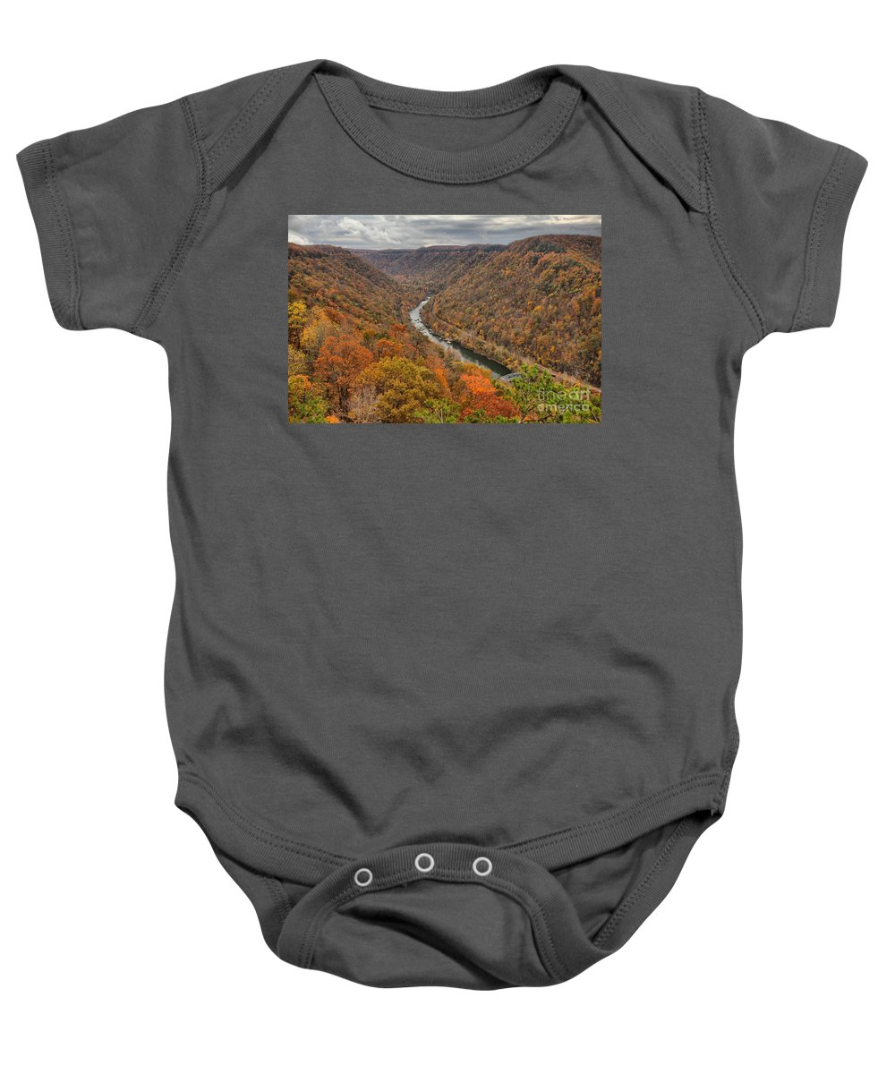 New River Gorge Baby Onesie featuring the photograph New River Gorge Overlook Fall Foliage by Adam Jewell