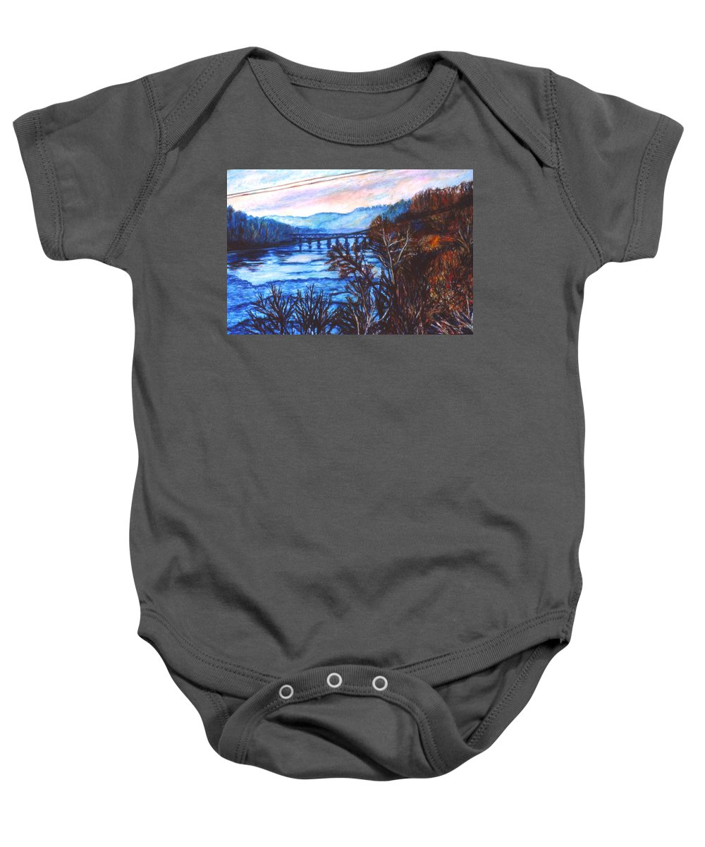 New River Trestle Baby Onesie featuring the painting New River Trestle In Fall by Kendall Kessler