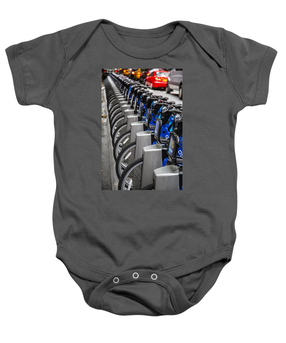 Bikes Baby Onesie featuring the photograph New York City Bikes by Karol Livote