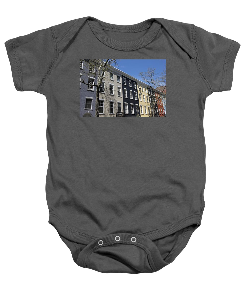 Rainbow Row Baby Onesie featuring the photograph New York City Rainbow Row by Allen Beatty