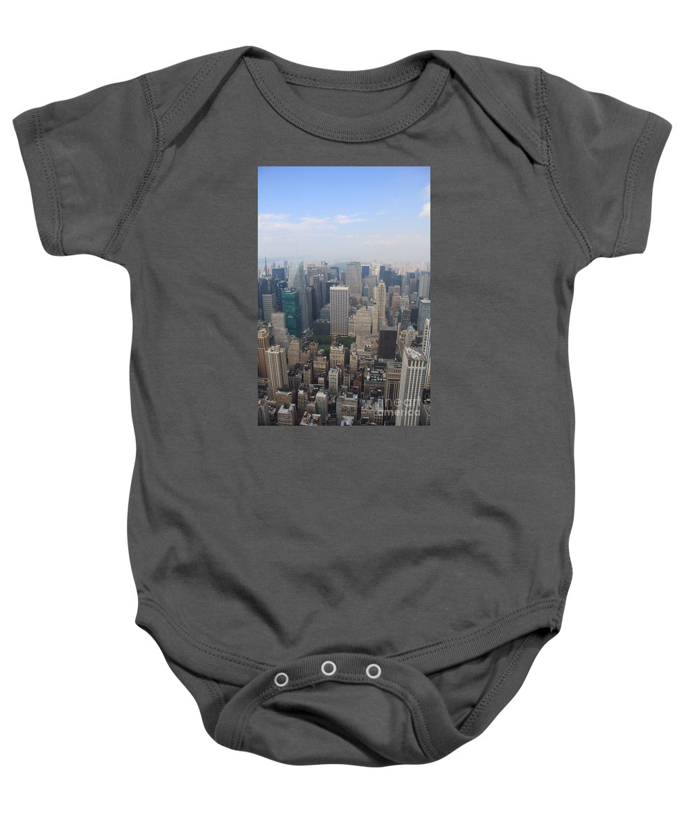 New York Skyline Baby Onesie featuring the photograph New York From Above by Christiane Schulze Art And Photography