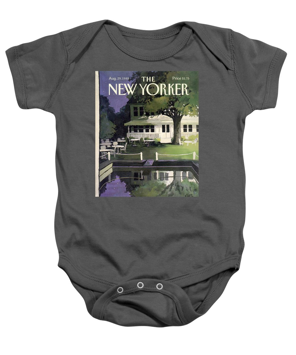 Household Baby Onesie featuring the painting New Yorker August 29th, 1988 by Arthur Getz