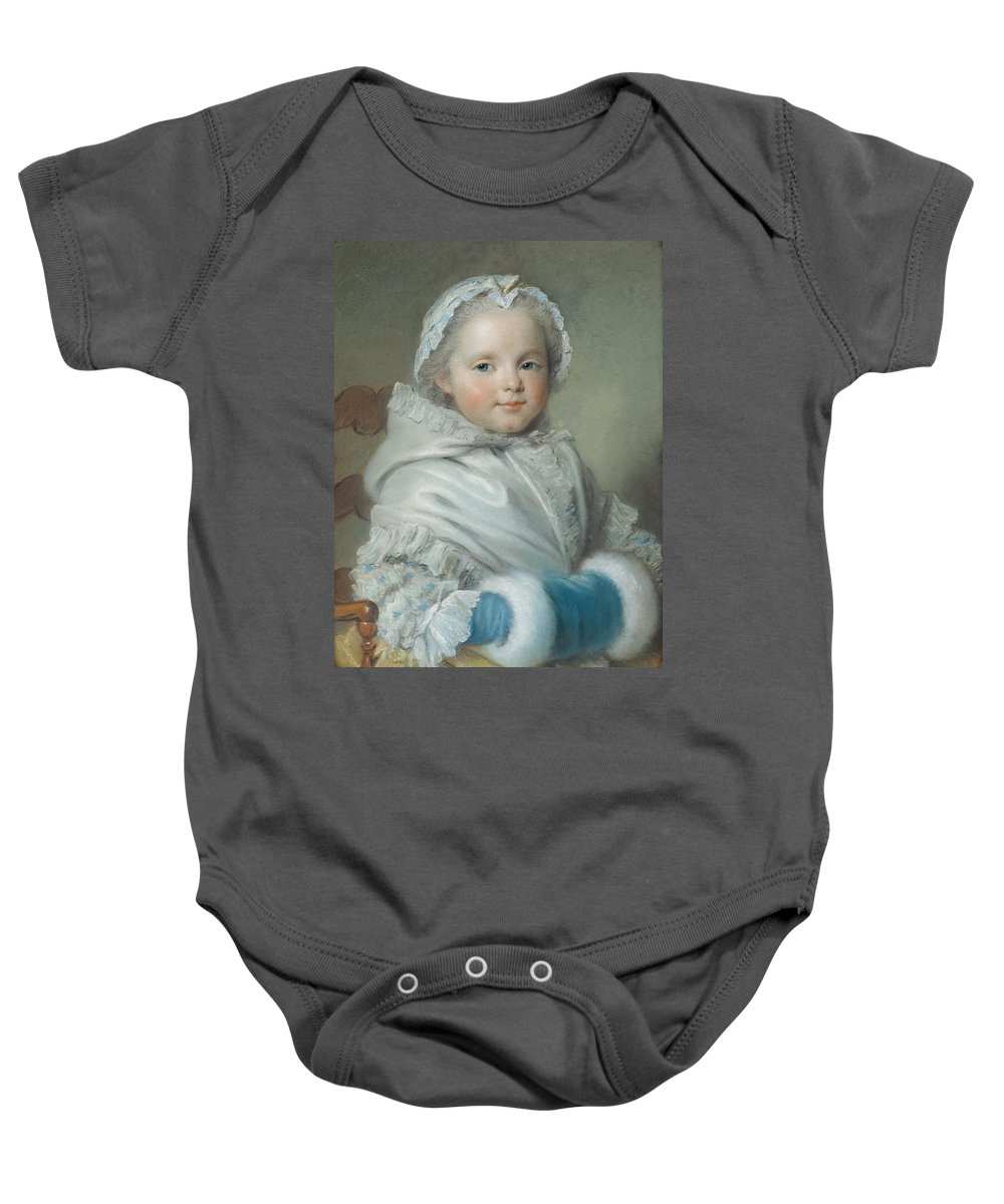 Child Baby Onesie featuring the photograph Nicole Ricard Pastel by Maurice Quentin de la Tour