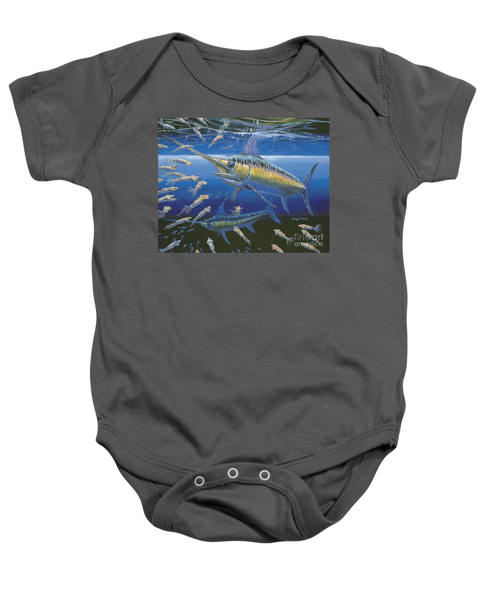 Broadbill Baby Onesie featuring the painting Night Broadbill Off0068 by Carey Chen
