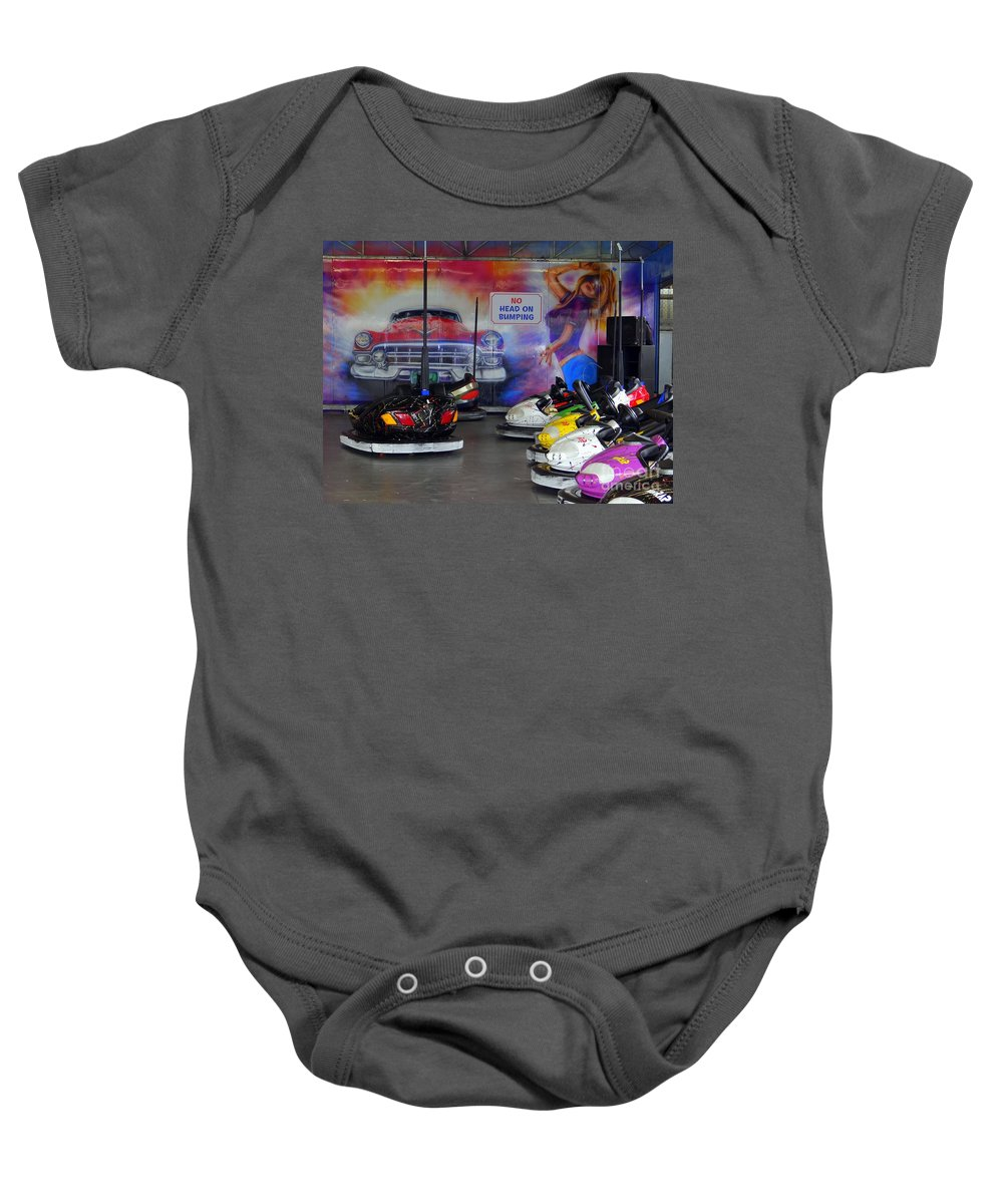 Coney Island Baby Onesie featuring the photograph No Head On Bumping by Ed Weidman