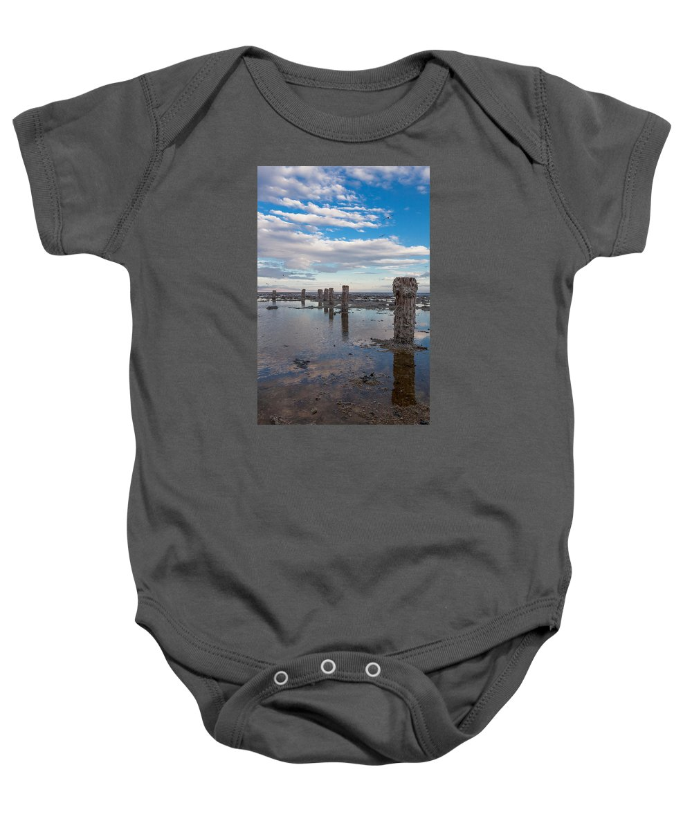 Pilings Baby Onesie featuring the photograph No More Dock by Scott Campbell