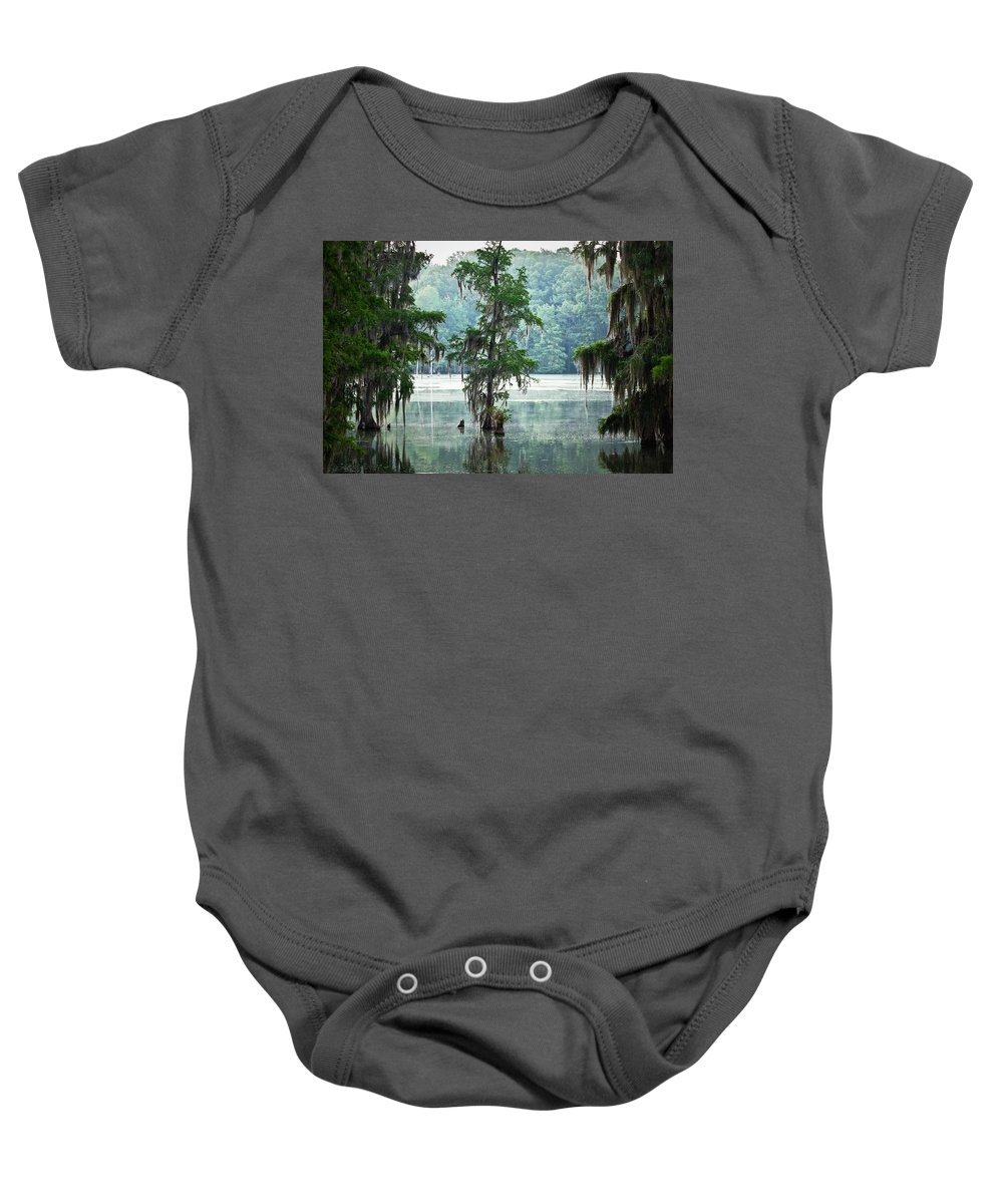 Swamp Baby Onesie featuring the photograph North Florida Cypress Swamp by Rich Leighton