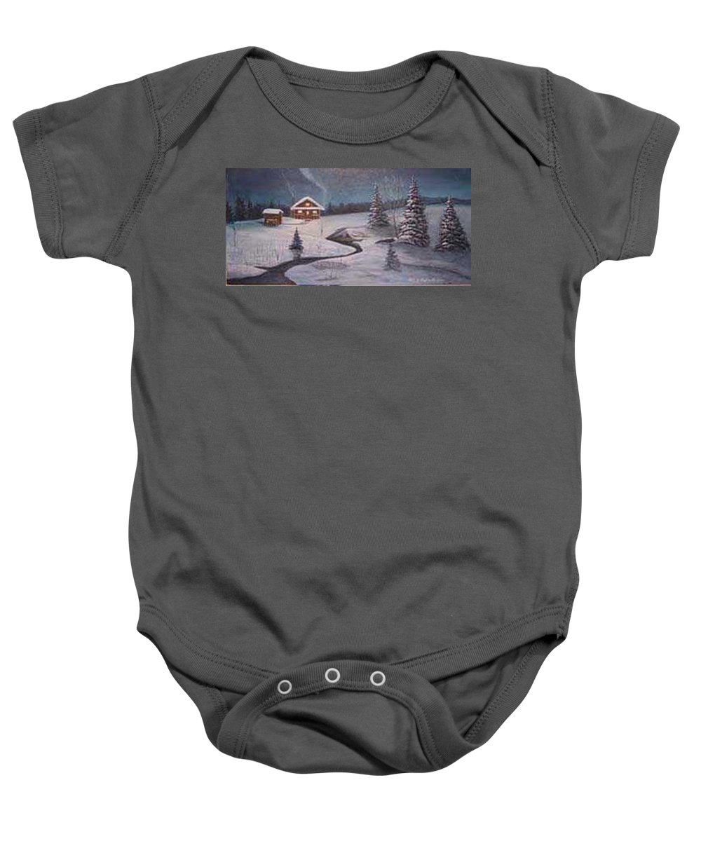 Rick Huotari Baby Onesie featuring the painting North Woods Cabin by Rick Huotari