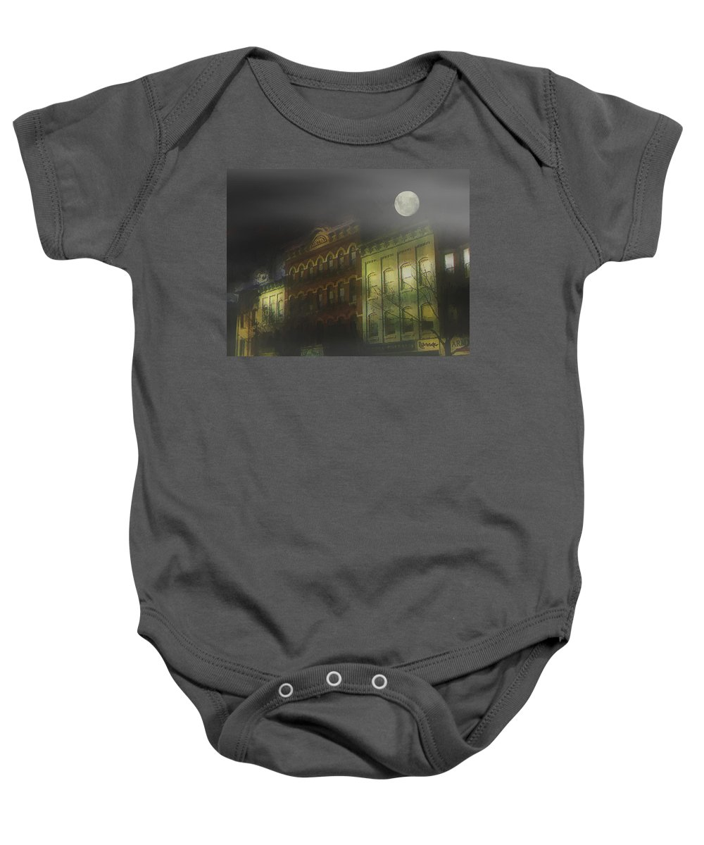 Cityscape Baby Onesie featuring the painting Northampton By Moonlight by RC DeWinter