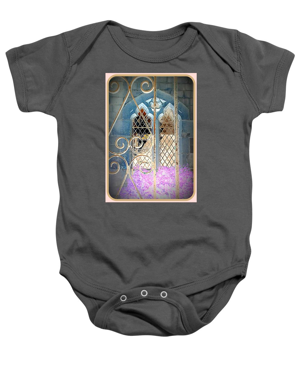 Church Baby Onesie featuring the photograph Nostalgic Church Window by The Creative Minds Art and Photography