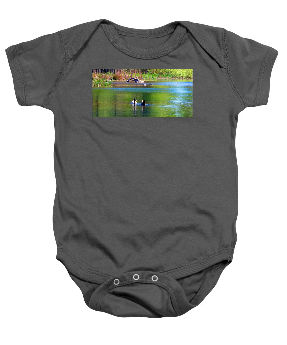 Ducks Baby Onesie featuring the photograph Not Like That by Joyce Dickens