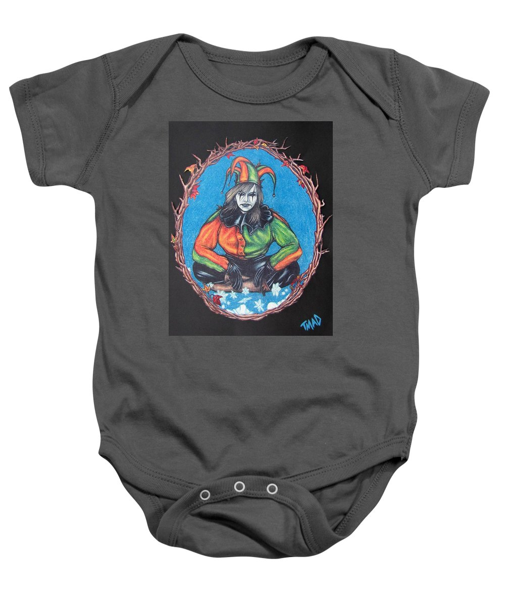 Michael Baby Onesie featuring the drawing November Snow by Michael TMAD Finney
