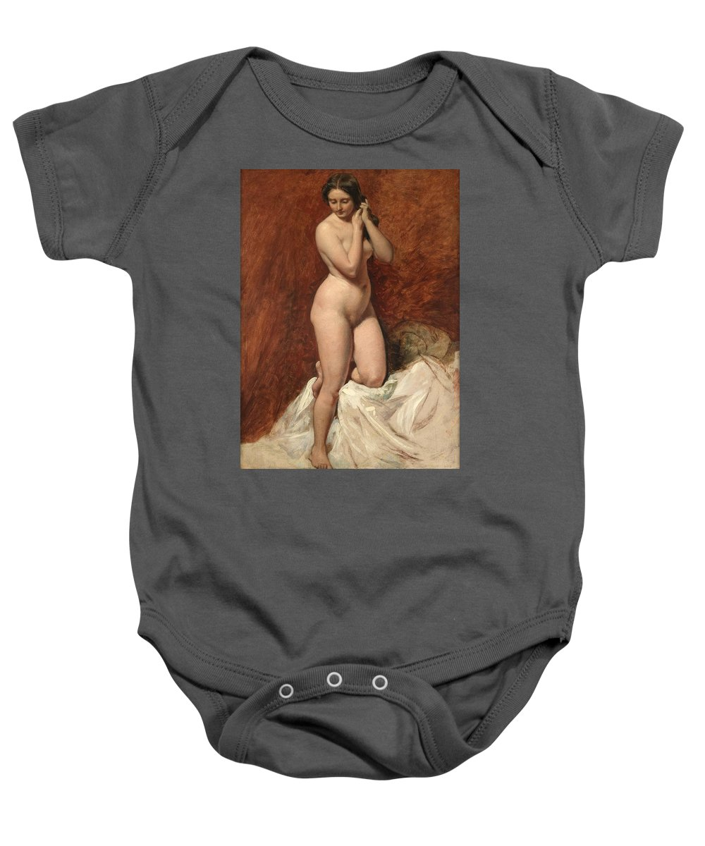 Female; Nude; Full Length; Naked; Curves; Curvy; Woman; Standing; Coy; Front View Baby Onesie featuring the painting Nude From The Front by William Etty