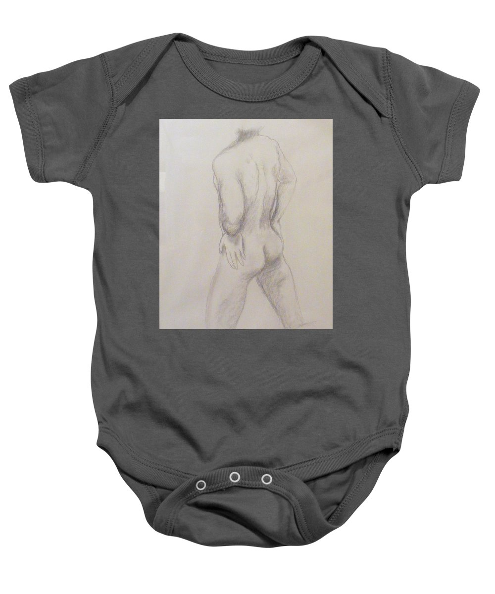 Nude Baby Onesie featuring the drawing Nude Soccer Player by Barbara Jacquin