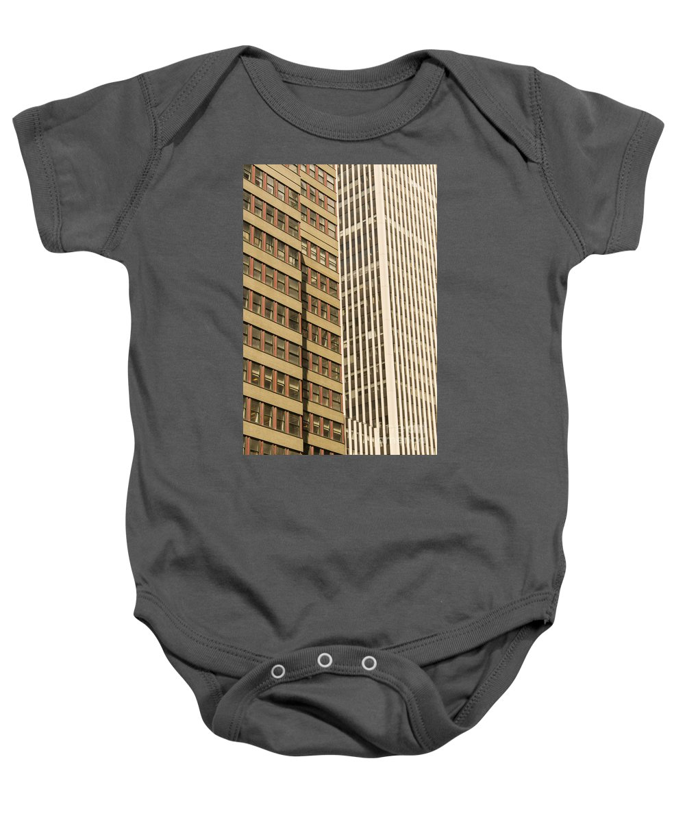 Highrise Apartment Highrises Building Apartments Buildings Window Windows Structure Structures Architecture New York City Cities Cityscape Cityscapes Baby Onesie featuring the photograph Nyc Highrises by Bob Phillips