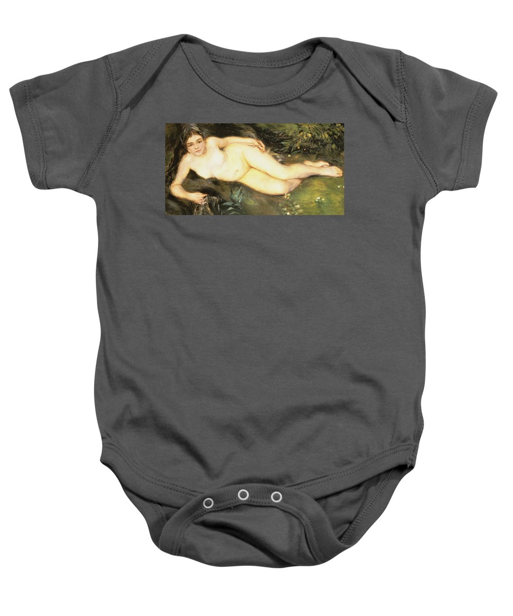 Nymph At The Stream Baby Onesie featuring the digital art Nymph At The Stream by Pierre Auguste Renoir