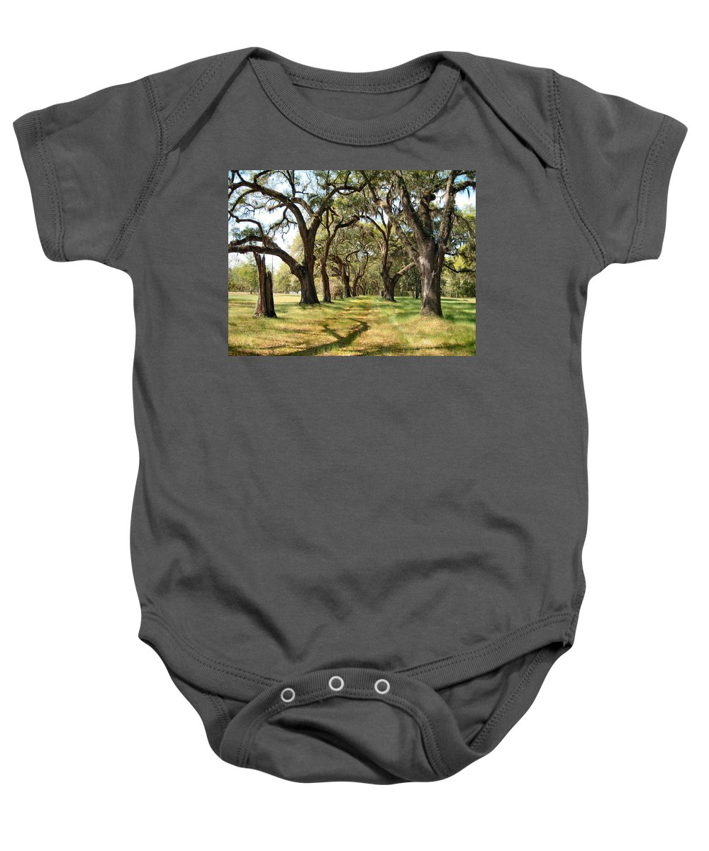 Oak Trees Baby Onesie featuring the photograph Oak Allee At Roseland Plantation by Carol Luzzi