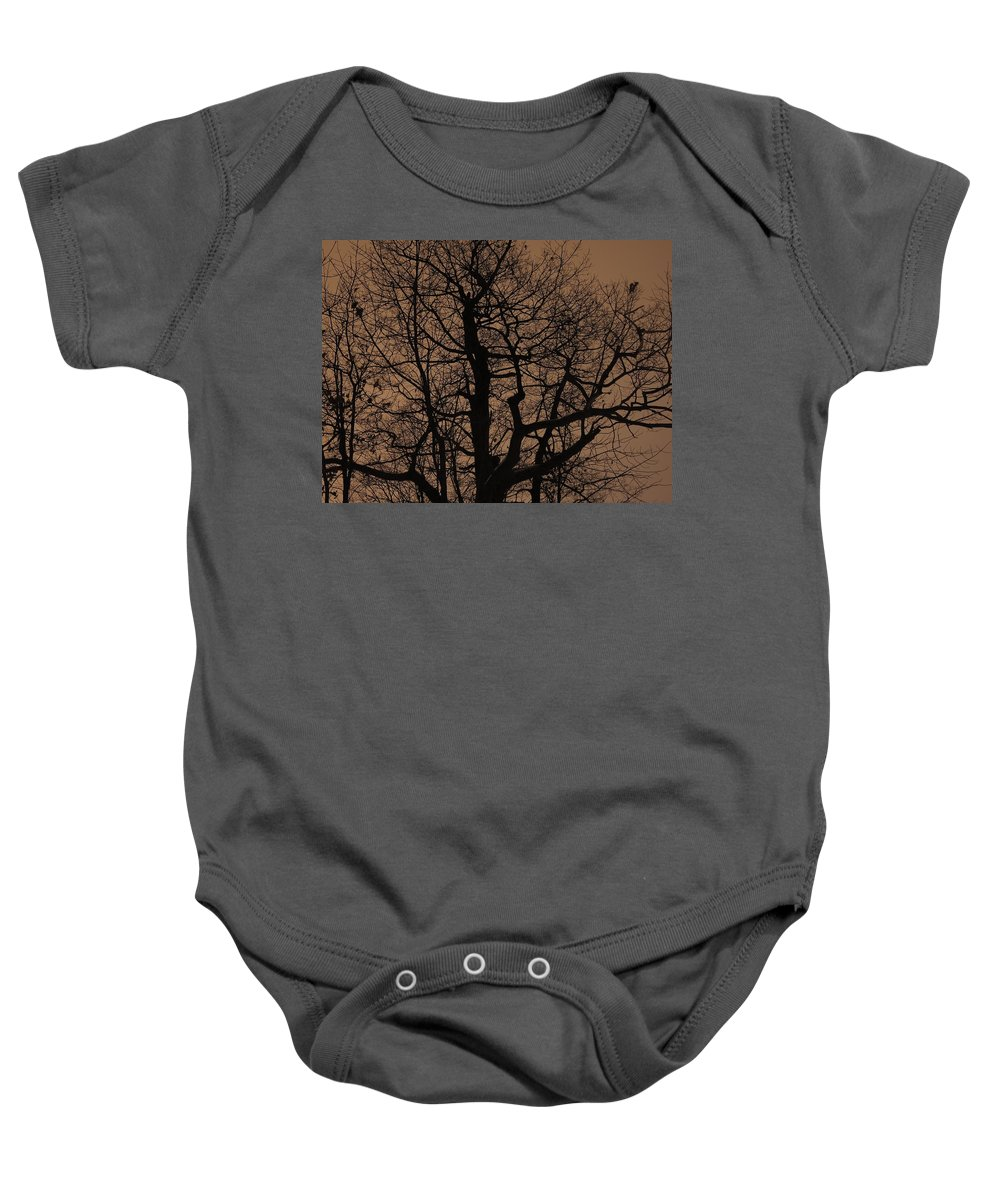Oak Baby Onesie featuring the photograph Oak Silhouette by Tim Beebe