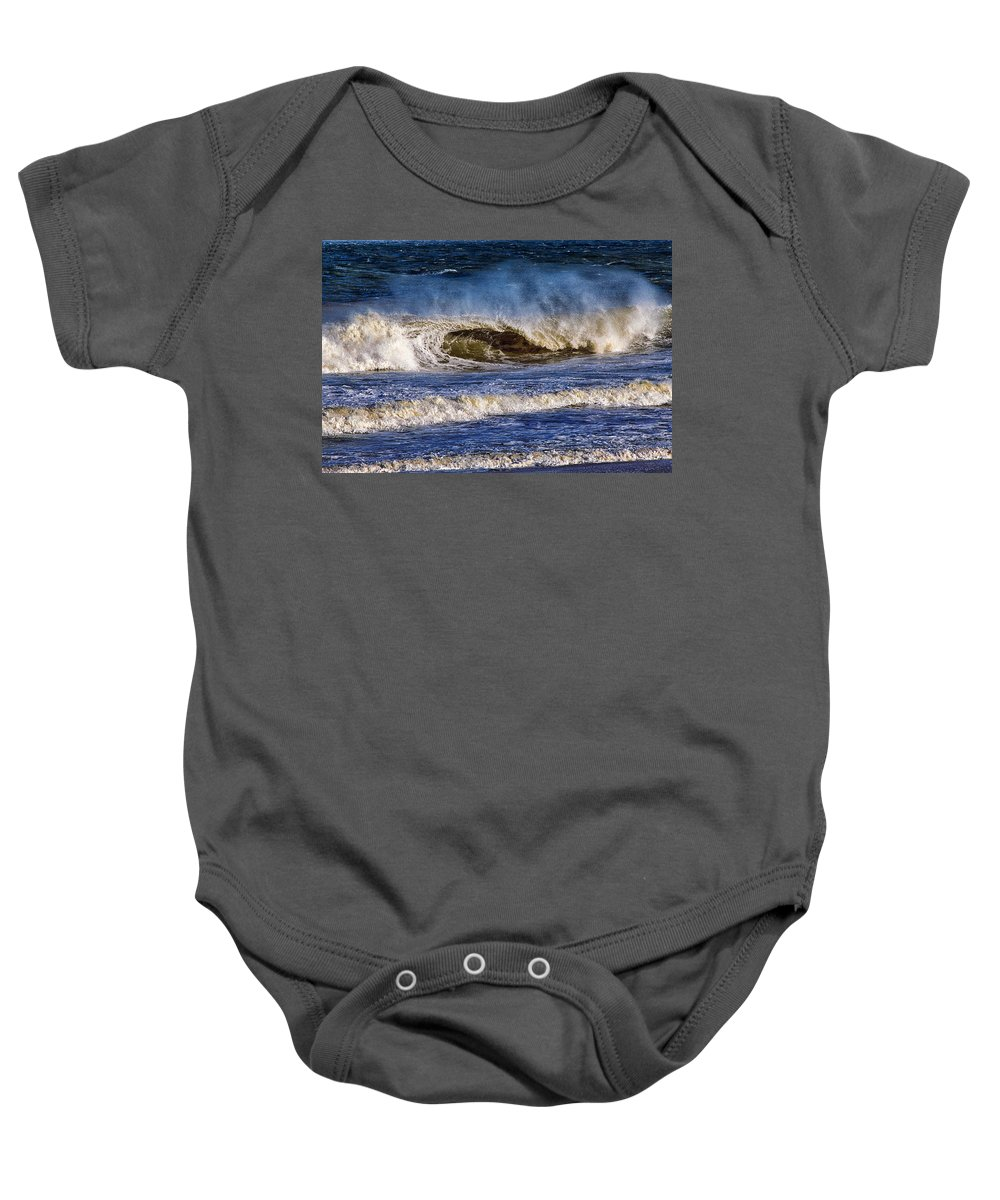 Ocean Waves Baby Onesie featuring the photograph Ocean City Surf's Up by Bill Swartwout Fine Art Photography