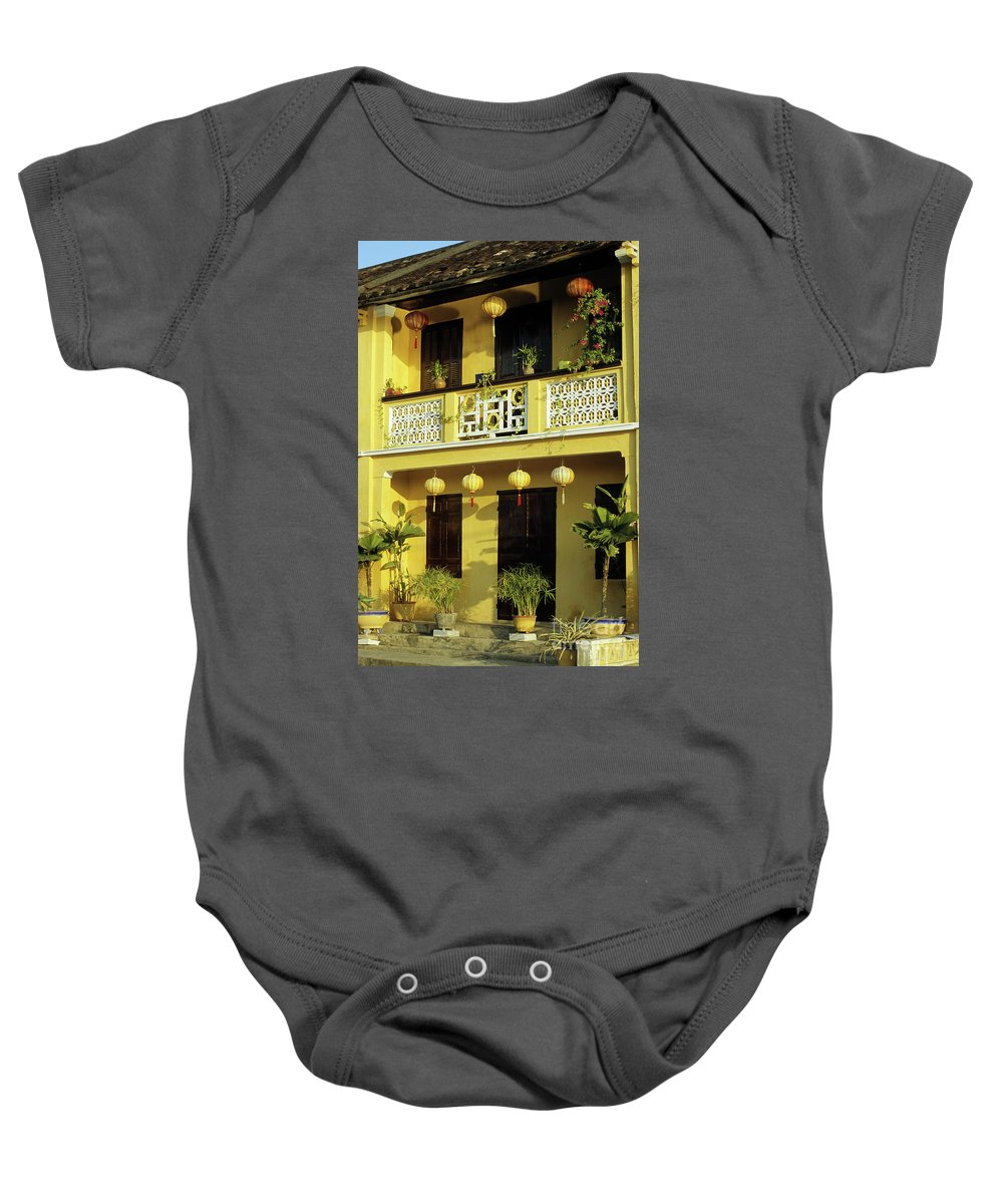 Vietnam Baby Onesie featuring the photograph Ochre Building 01 by Rick Piper Photography