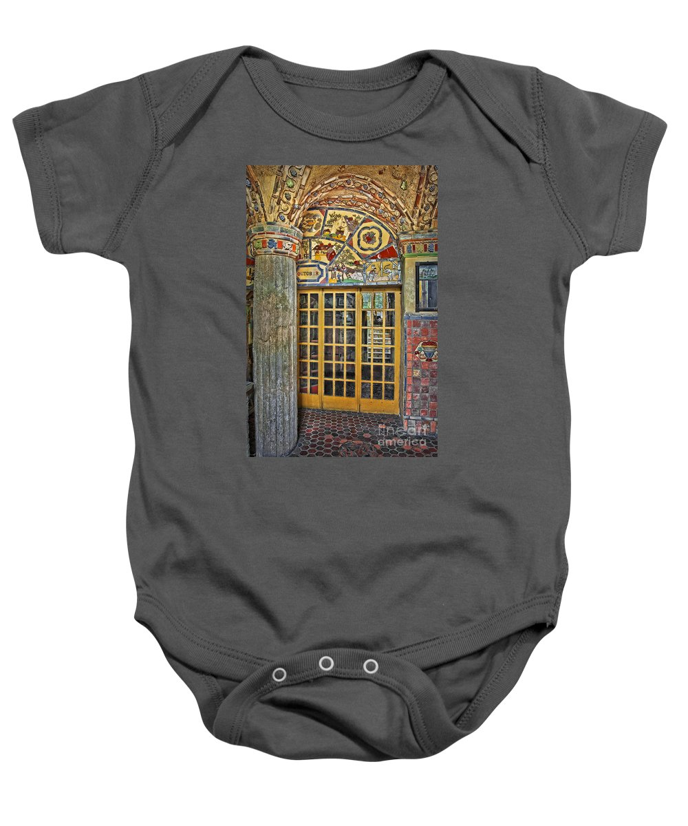 Byzantine Baby Onesie featuring the photograph October At Fonthill Castle by Susan Candelario