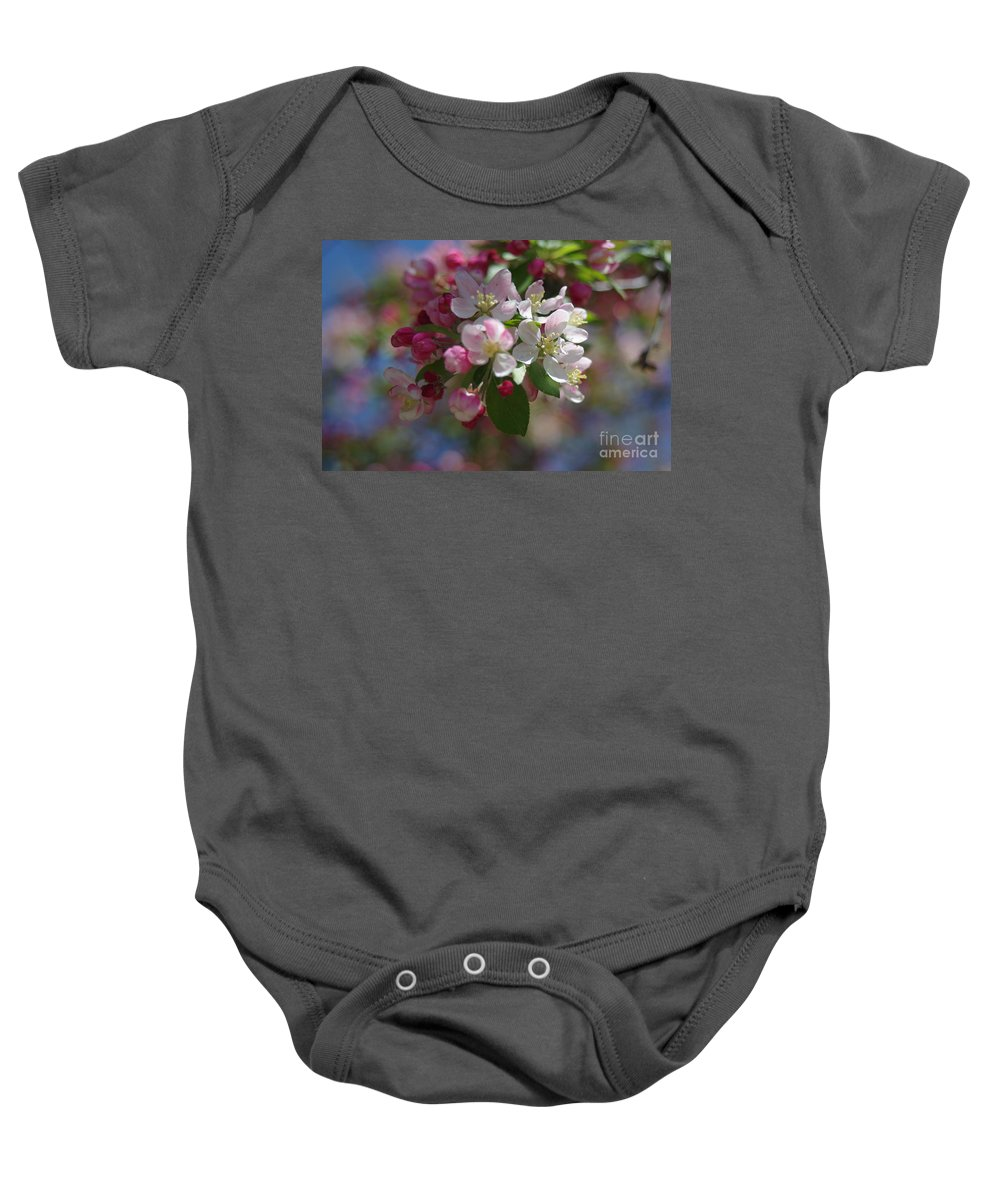 Crabapple Flowers Baby Onesie featuring the photograph Ode To Spring by Kitrina Arbuckle