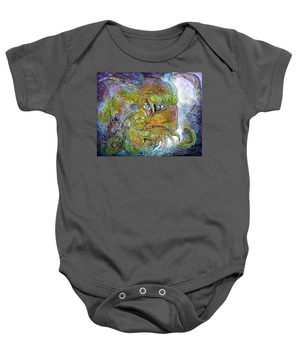 Tiamat Baby Onesie featuring the painting Offspring Of Tiamat - The Fomorii Union by Otto Rapp
