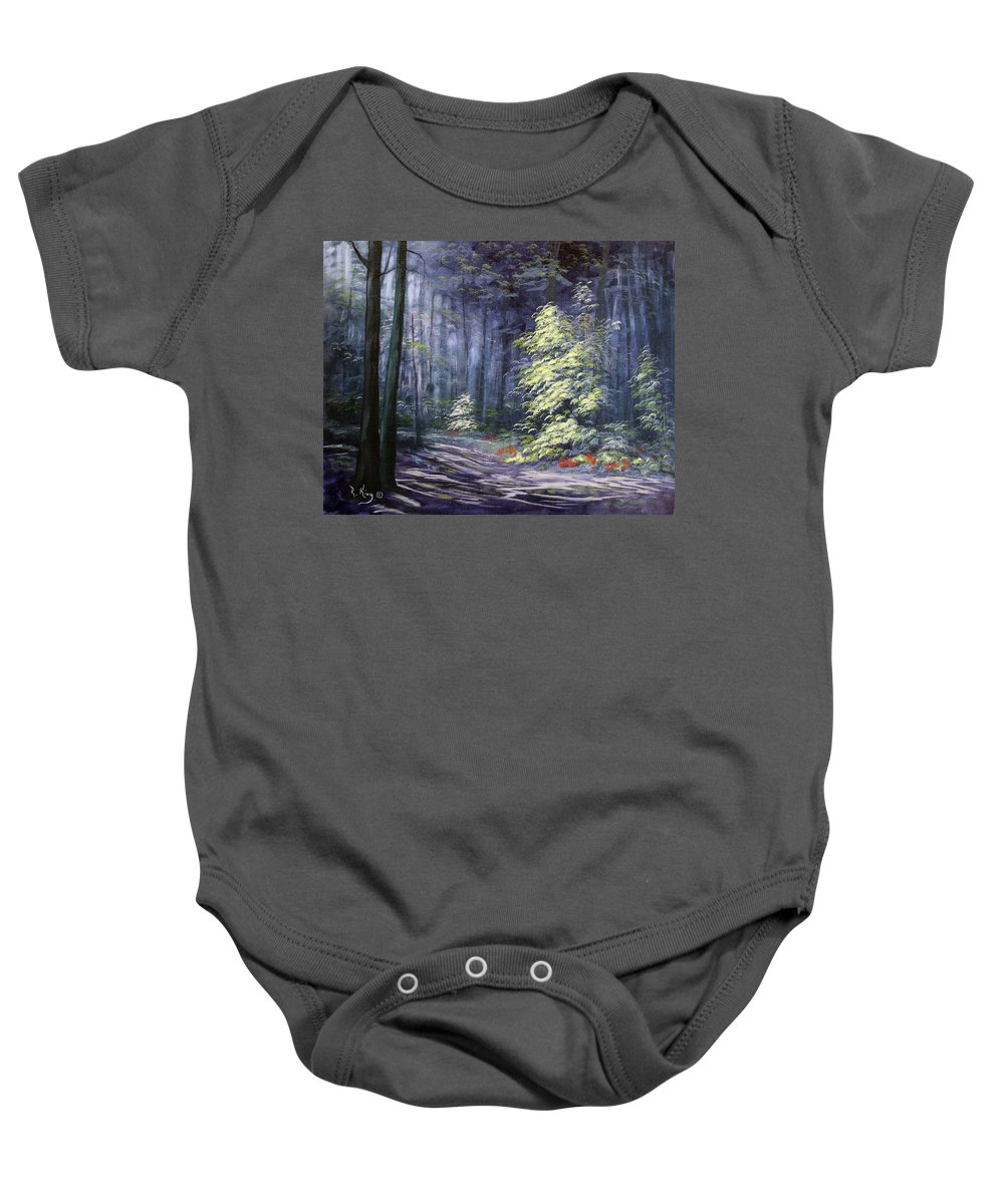 Roena King Baby Onesie featuring the painting Oil Painting - Forest Light by Roena King