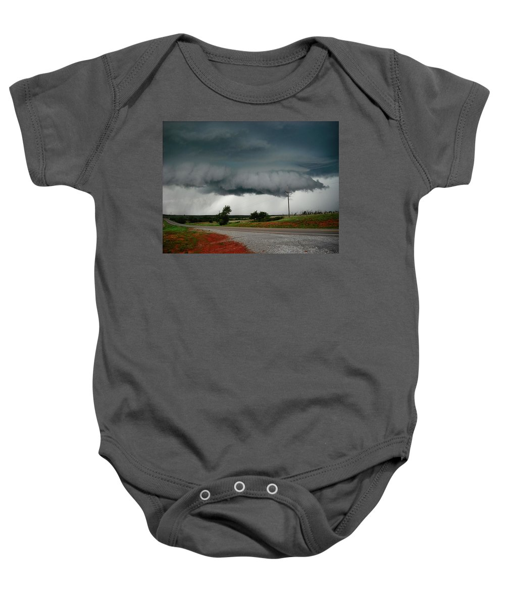 Wall Cloud Baby Onesie featuring the photograph Oklahoma Wall Cloud by Ed Sweeney