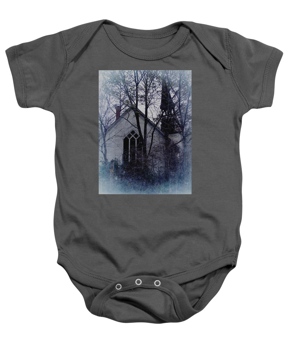 Abandoned Baby Onesie featuring the digital art Old Abandoned Church by Cassie Peters