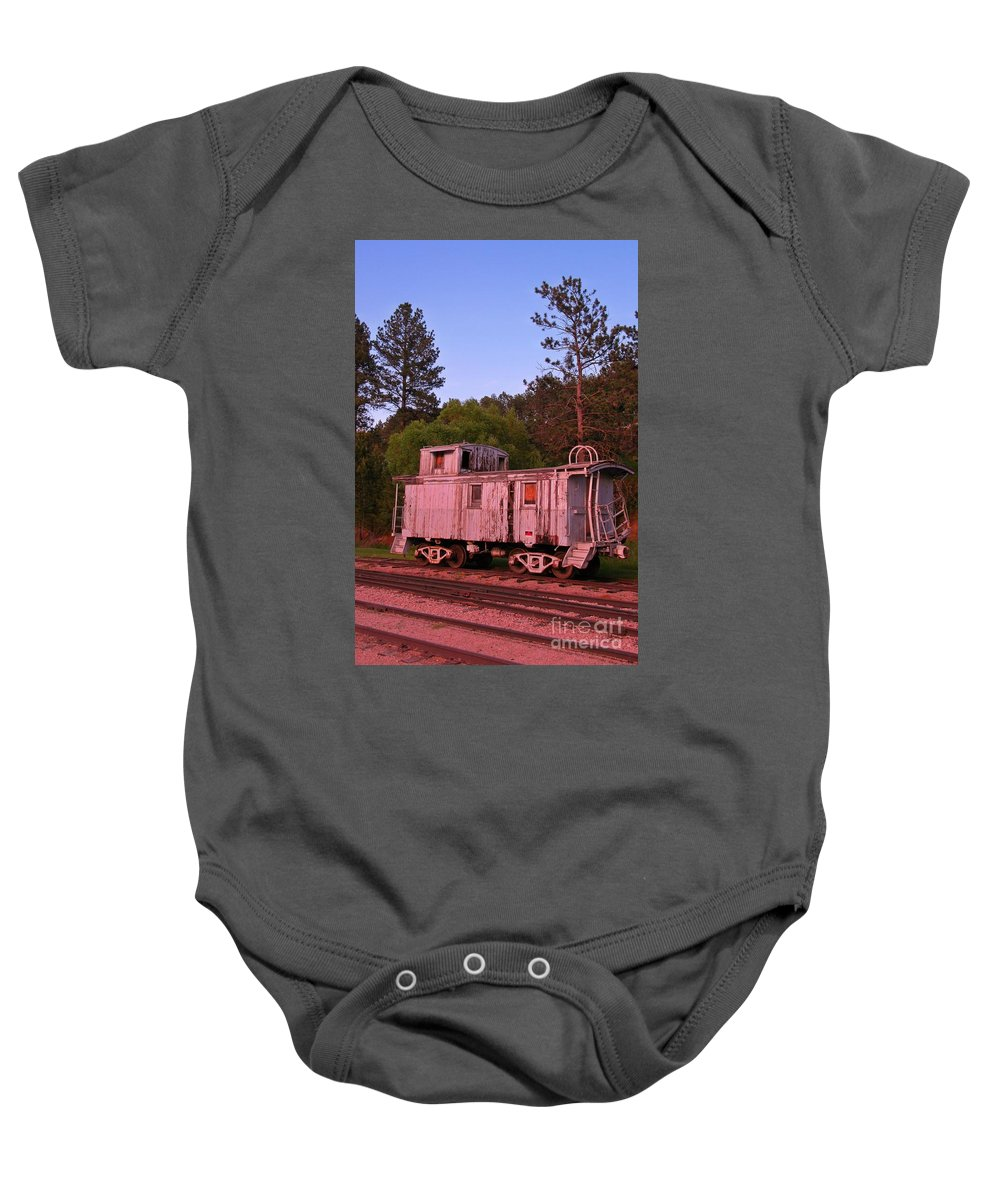 Train Art Baby Onesie featuring the photograph Old And Weathered Caboose by John Malone
