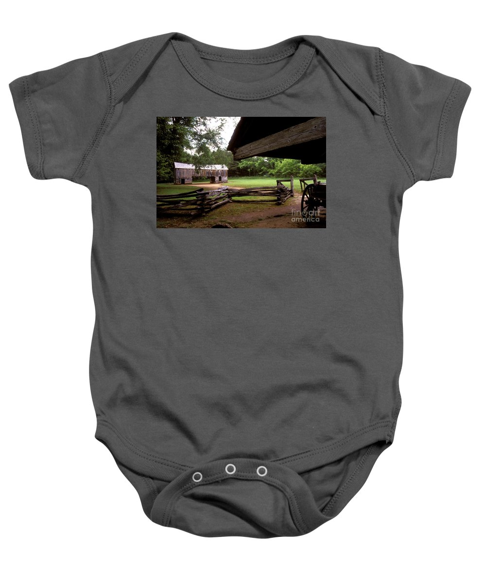 Barn Baby Onesie featuring the photograph Old Appalachian Barn Yard by Paul W Faust - Impressions of Light