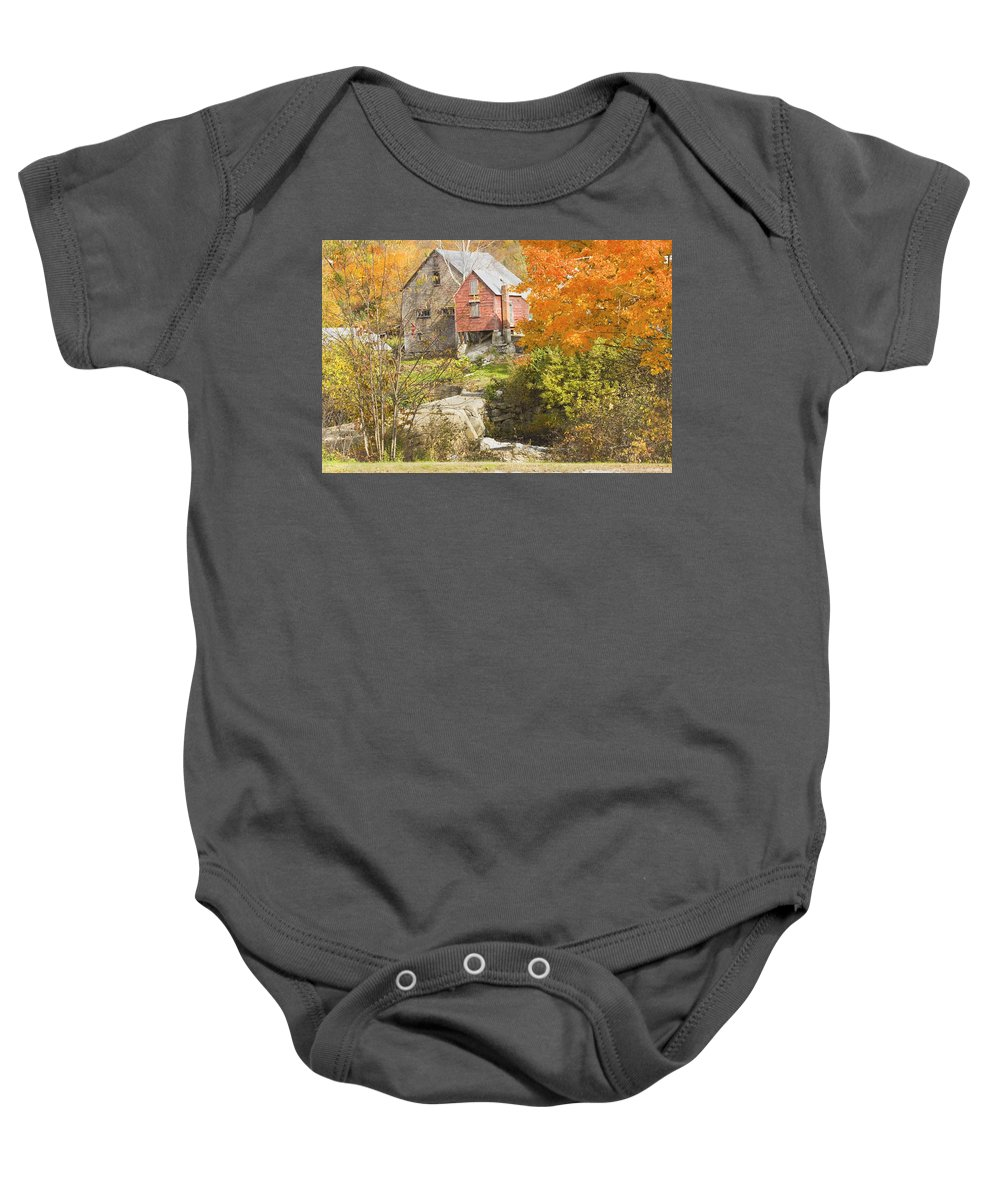 Autumn Baby Onesie featuring the photograph Old Barn And Dam In Autunm Vienna Maine by Keith Webber Jr