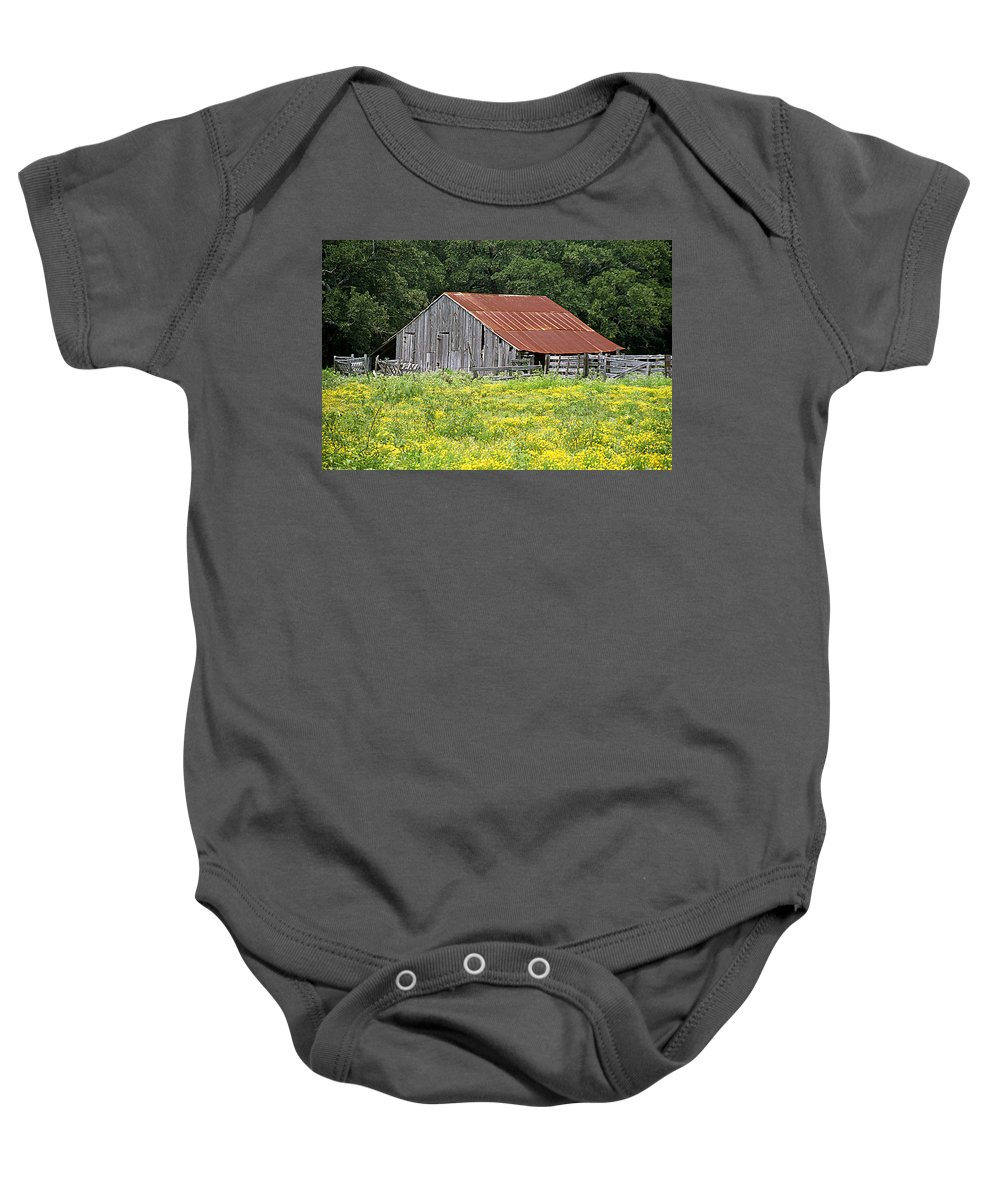 Structures Baby Onesie featuring the photograph Old Barn by Jim Smith