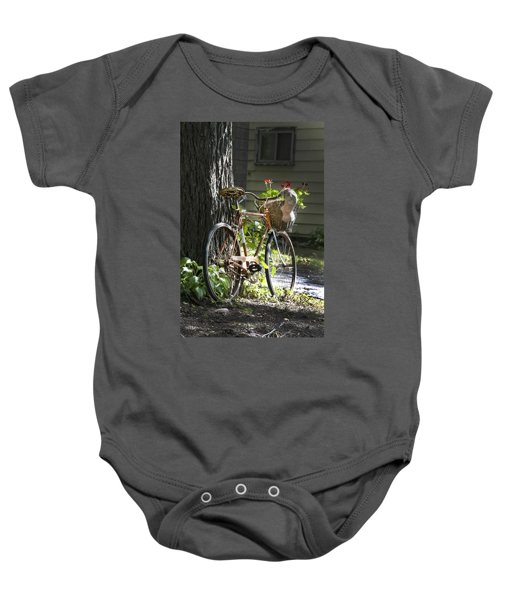 Bicycle Baby Onesie featuring the photograph Old Bicycle And Hat by Ray Summers Photography