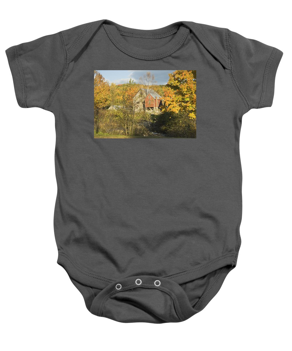 Fall Baby Onesie featuring the photograph Old Buildings And Fall Colors In Vienna Maine by Keith Webber Jr