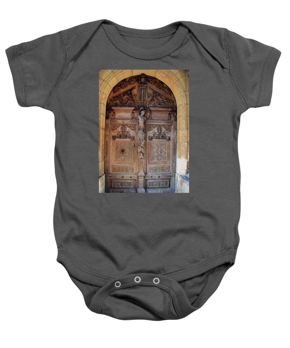 Door Baby Onesie featuring the photograph Old Carved Church Door by Christiane Schulze Art And Photography