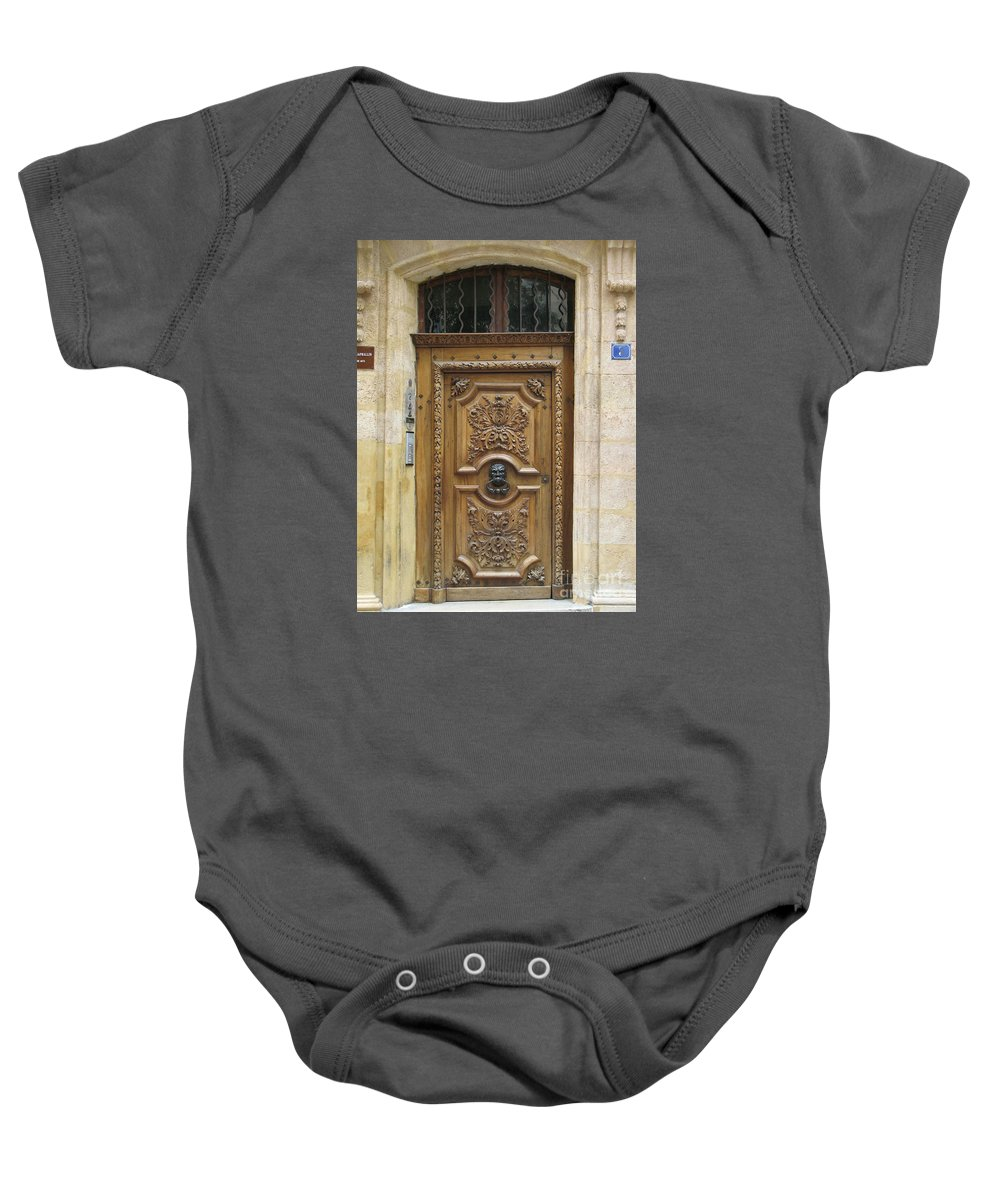 Door Baby Onesie featuring the photograph Old Carved Door by Christiane Schulze Art And Photography