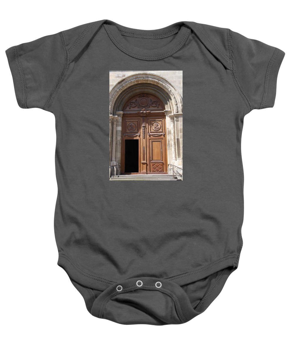 Door Baby Onesie featuring the photograph Old Church Door Cathedral Autun by Christiane Schulze Art And Photography