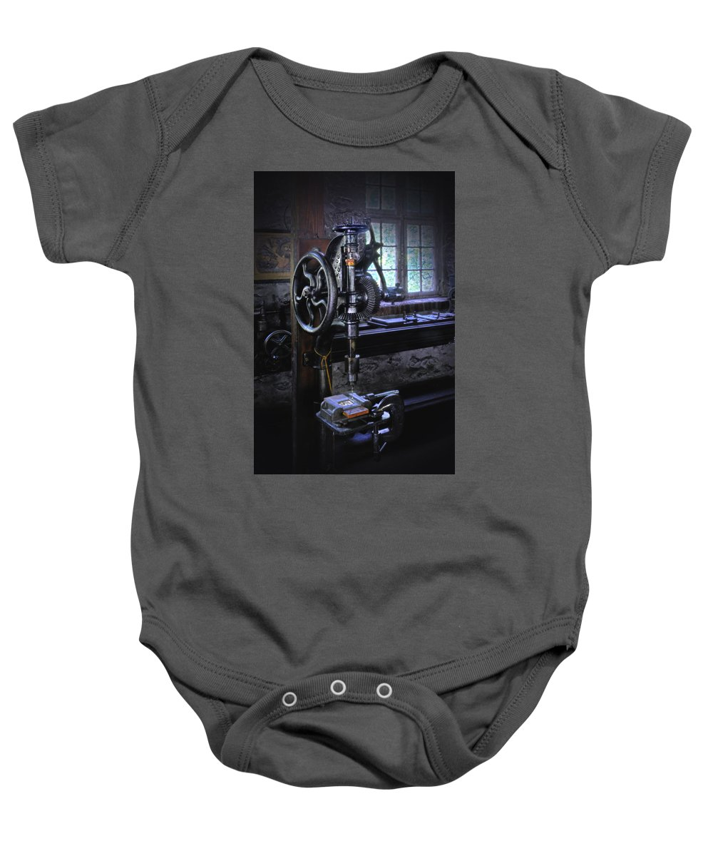 Drill Press.old Drill Press Baby Onesie featuring the photograph Old Drill Press by Dave Mills