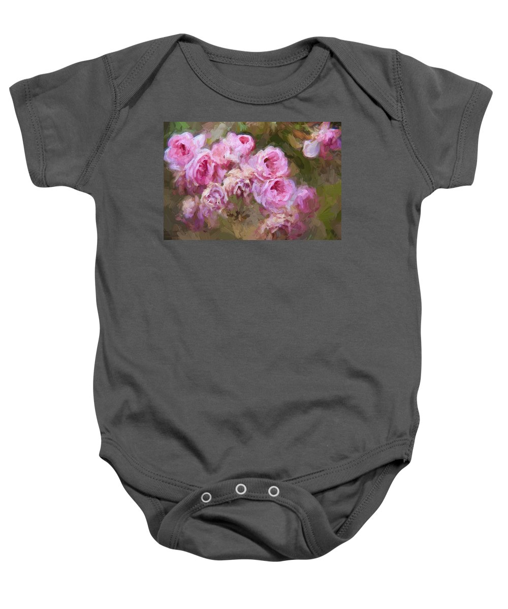 Pink Roses Baby Onesie featuring the photograph Old English Pink by Alice Gipson