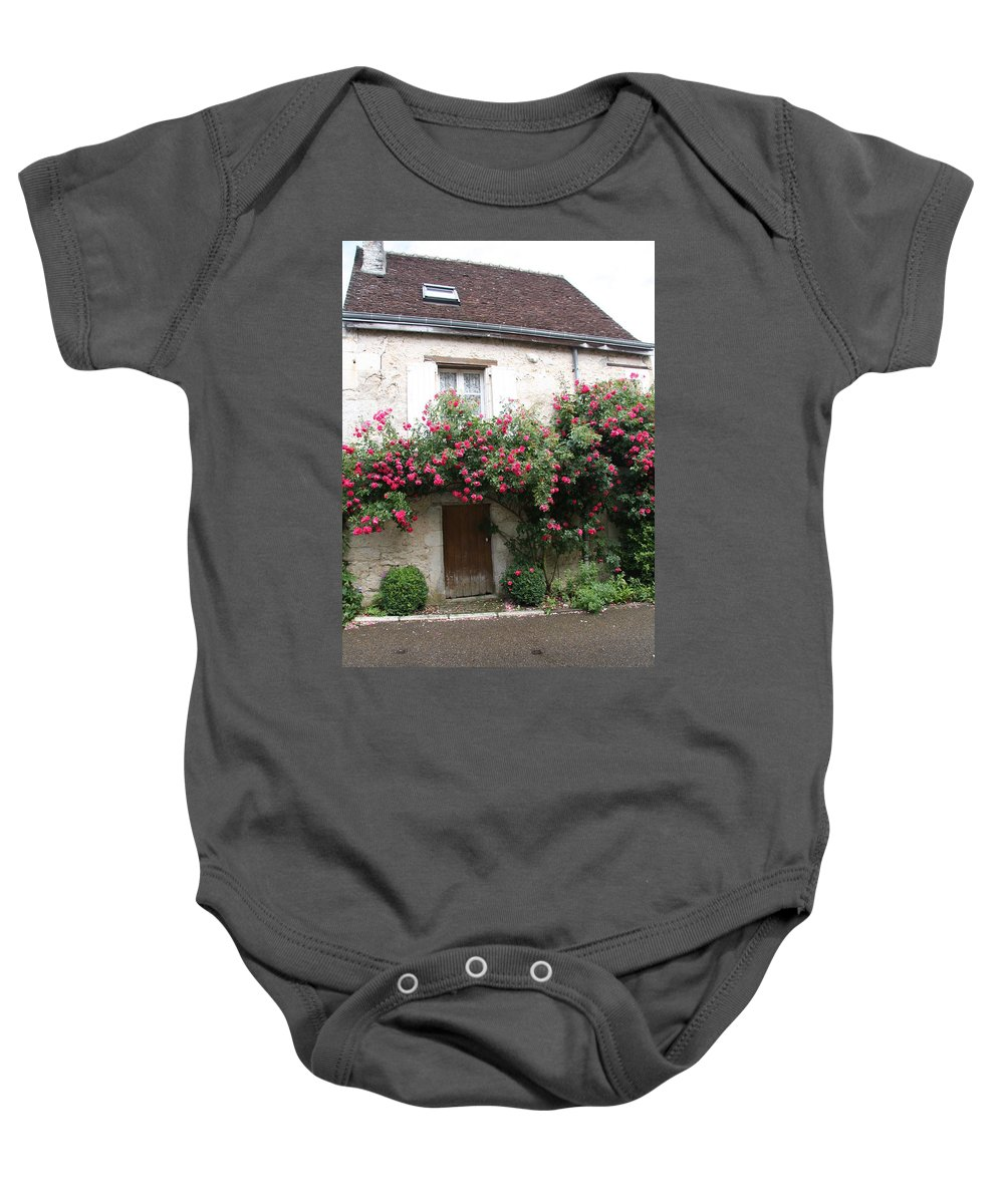 Rose Baby Onesie featuring the photograph Old House Covered With Roses by Christiane Schulze Art And Photography