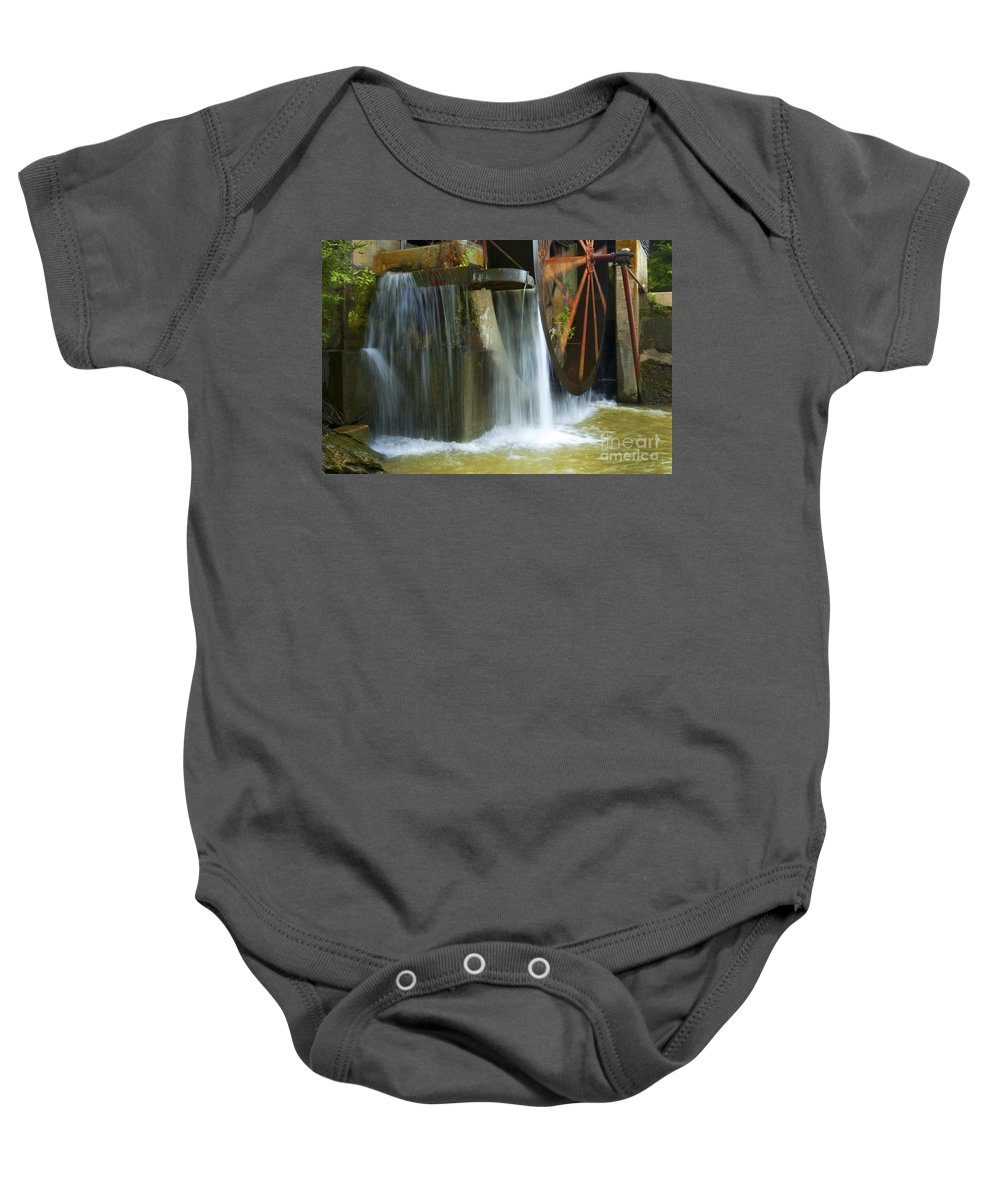 Water Baby Onesie featuring the photograph Old Mill Water Wheel by Paul W Faust - Impressions of Light