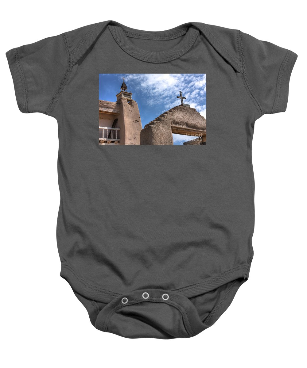 Mission Baby Onesie featuring the photograph Old Mission Crosses by David Cutts