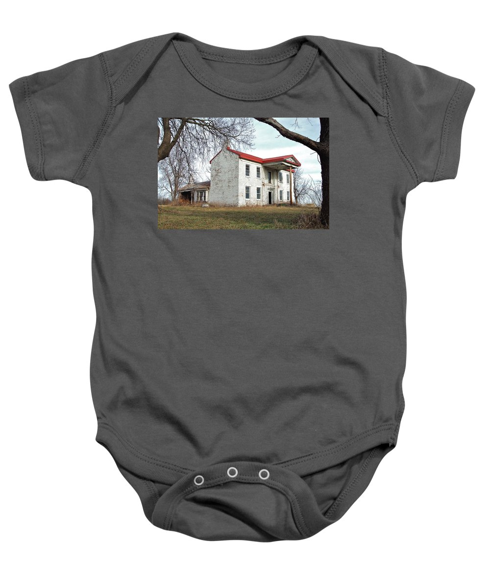 Relic Baby Onesie featuring the photograph Old Missouri Mansion by Susan Wyman