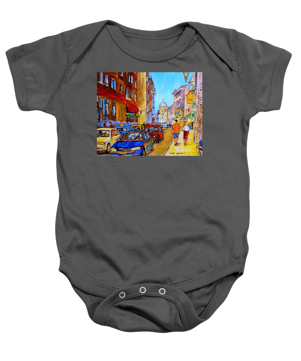 Old Montreal Street Scenes Baby Onesie featuring the painting Old Montreal by Carole Spandau