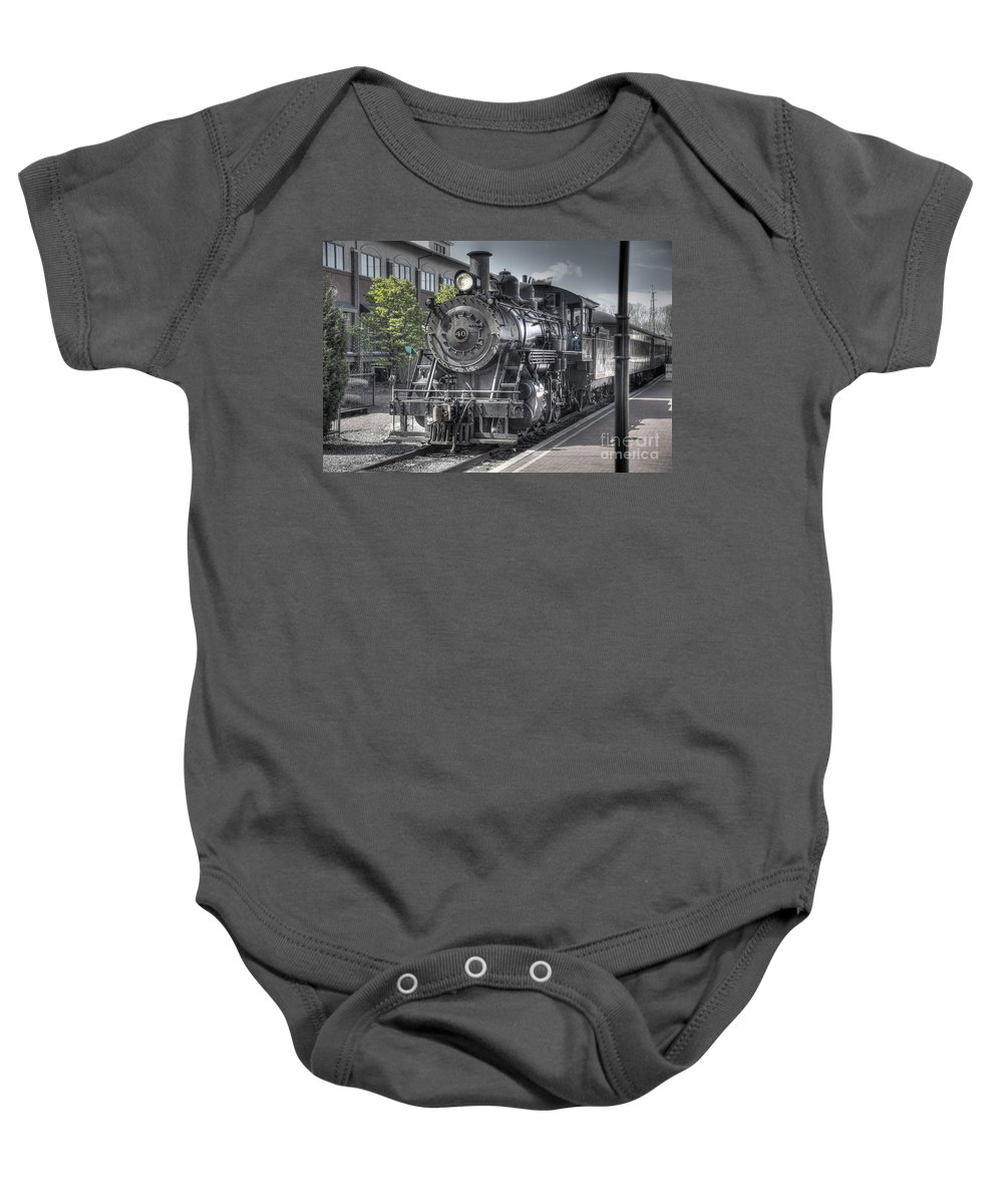 Train Baby Onesie featuring the photograph Old Number 40 by Anthony Sacco